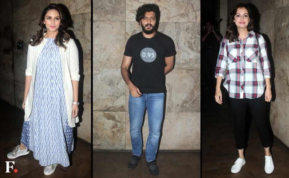 Among the guests spotted at the screening were Huma Qureshi, Riteish Deshmukh and Dia Mirza. Image by Sachin Gokhale/Firstpost
