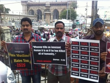 Muslims protesting against Islamic State at the Charminar in Hyderabad. Image courtesy TS Sudhir