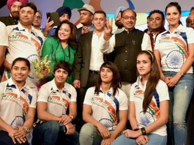 Sports Minister Vijay Goel, actor Salman Khan, music composer AR Rahman with Rio-bound athletes. PTI