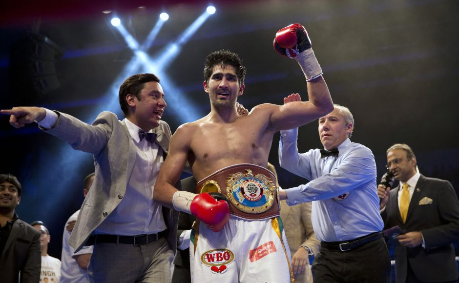 Vijender Singh after wining WBO Asia Pacific Super Middleweight title. AP
