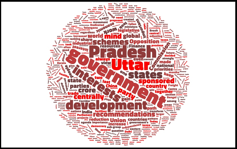 A word cloud depicting the major themes highlighted by PM Narendra Modi in his interview with Indian Express