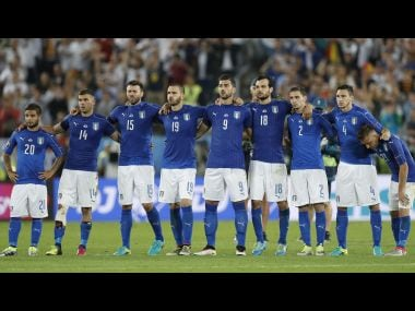 Italy players during the penalty shootout. Reuters