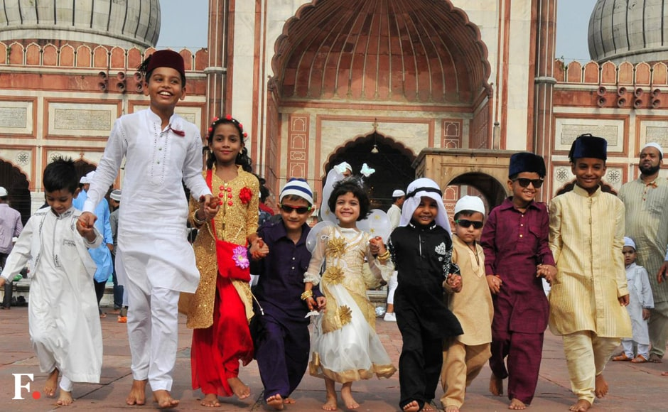 Ecstatic children, who were gifted 'Eidee' money by parents and elders, were at the forefront of the festivities, buying toys and other items from shops around the mosques.Naresh Sharma/Firstpost