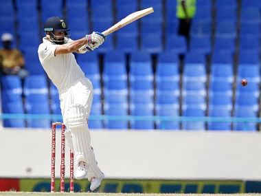 Virat Kohli in action against West Indies on day two of the first Test in Antigua. AP