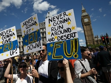 People hold banners during a 'March for Europe' demonstration against Britain's decision to leave the European Union, in London. Reuters