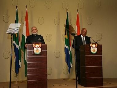 A file photo of PM Modi and Zuma. Photo credit: Twitter @MEAIndia