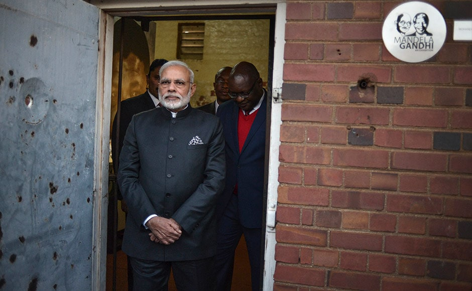 PM Narendra Modi visits the Constitutional Hill in Johannesburg , where Indian independence hero Mahatma Gandhi and South African former president and liberation icon Nelson Mandela were kept in prison. AFP
