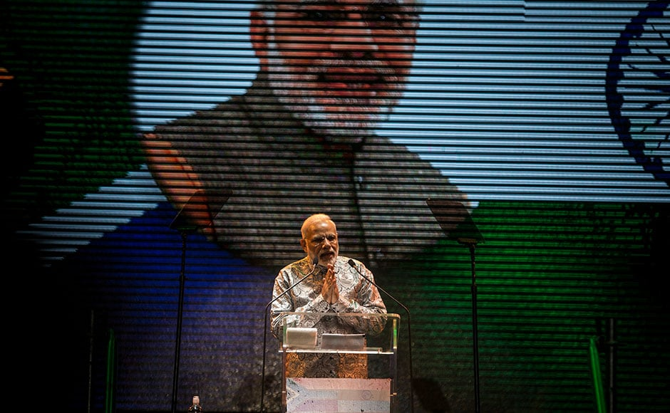 Prime Minister of India, Narendra Modi, addresses thousands of South Africans at the Ticket Pro Dome on 8 July, 2016 in Johannesburg. AFP