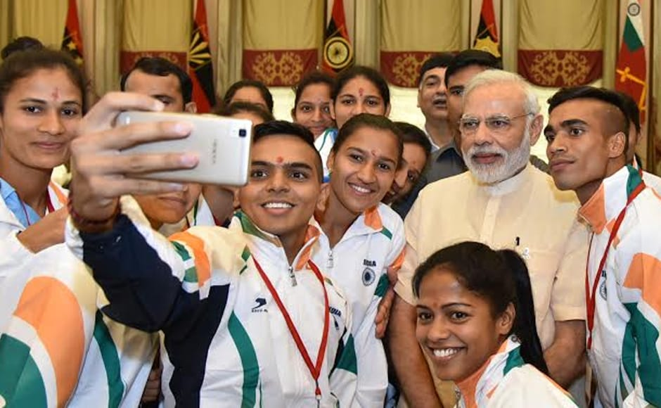 The Indian women's hockey team, national badminton coach Pullela Gopichand and boxing coach Gurbax Singh Sandhu were also present. However, some Rio-qualified athletes gave the function a miss as they are currently training abroad. Photo: PIB/Twitter