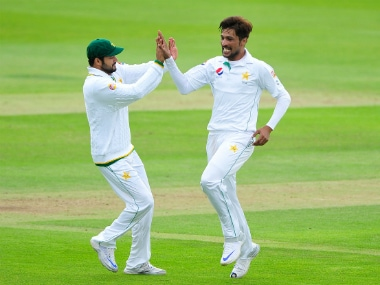Mohammad Amir in action during Pakistan's practice game against Somerset. AP