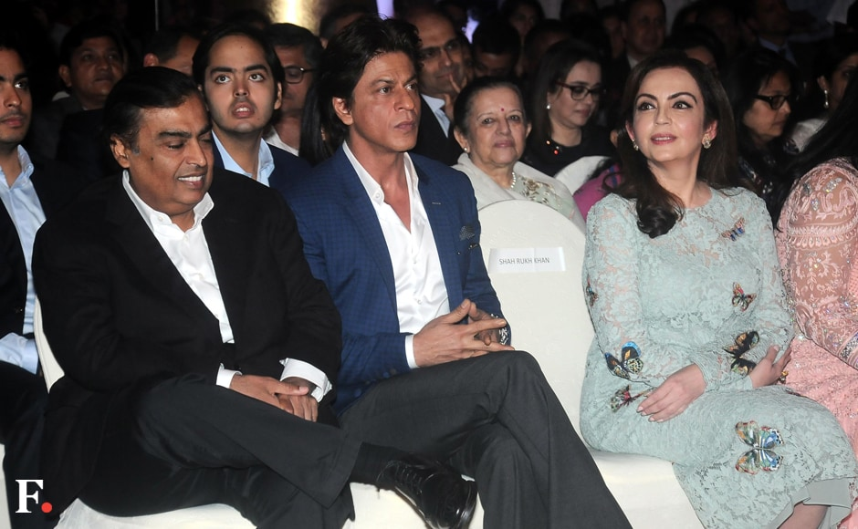 "Mukesh Ambani, chairman and MD of Reliance Industries, is seen sitting in the front row at the event along with Shah Rukh Khan and Nita Ambani. The book's section titled ""Altruism & Other Interests"" lists Nita, Rajshree Birla, Sudha Murthy, Yasmeen Premji and Parmeshwar Godrej. Sachin Gokhale/Firstpost"