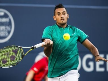 Nick Kyrgios returns the ball to Denis Shapovalov at Toronto. AP