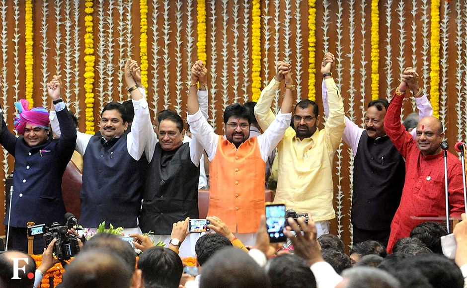 The Maharashtra Cabinet was expanded on Friday from 29 ministers to 40. Ten new ministers took their oaths, along with Ram Shinde, who was promoted from minister of state to cabinet minister at a ceremony at Vidhan Bhavan. (l-r) Cabinet Ministers Jaikumar Raval, Ram Shinde and Pandurang Phundkar, with Ministers of State Arjun Khotkar, Sadabhau Khot, Madan Yerawar and Gulabrao Patil. Sachin Gokhale/Firstpost