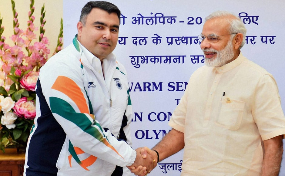 PM Modi greeted each member of 103-strong contingent during the send-off ceremony. Modi shook hands with shooter Gagan Narang. Photo: PTI