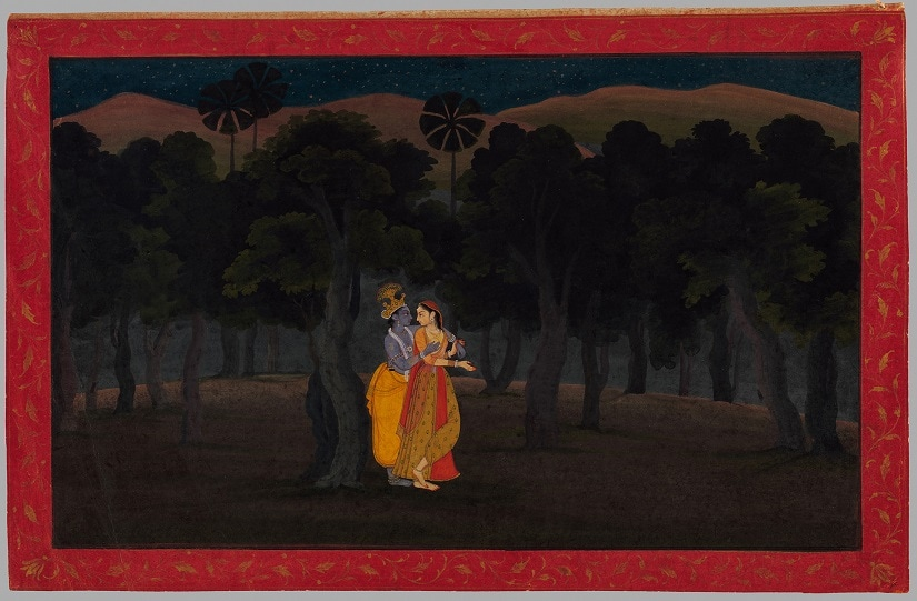 The Lovers Radha and Krishna in a Palm Grove. Image courtesy The Metropolitan Museum of Art
