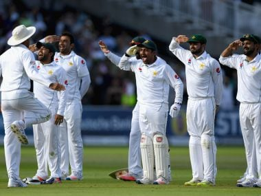 Pakistan players made a tribute to their army after winning the Lord's test. AFP