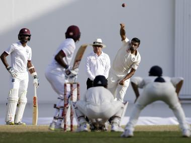 Ravichandran Ashwin in action against West Indies. AP
