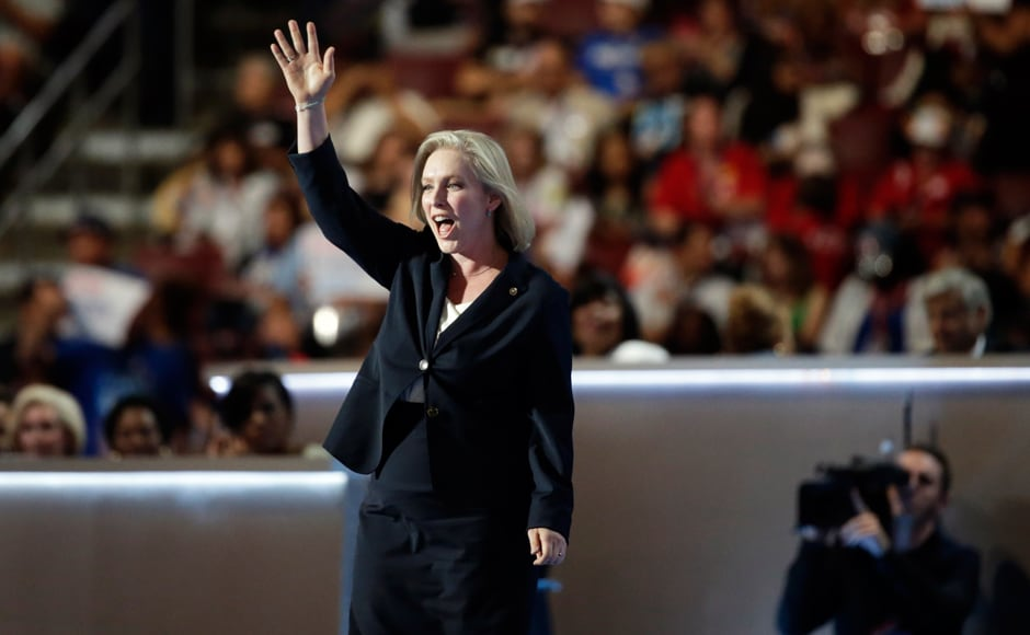 Senator Kirsten Gillibrand touted Hillary Clinton as a champion of women and said that policies were from a 'Mad Men' era. Photo: Reuters