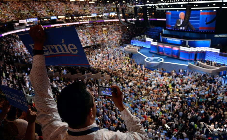 Sanders joined a high-wattage lineup of speakers, including first lady Michelle Obama who made a forceful, impassioned case for the Democratic nominee. Photo: Reuters