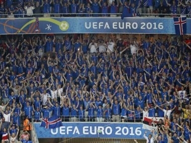 Iceland fans celebrate win against England. Reuters
