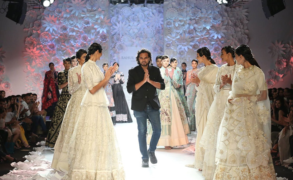 Ace fashion designer Rahul Mishra showcased his latest collection - Monsoon Diaries- featuring weaving techniques like French knots and wire work. Facebook/ Fashion Design Council of India