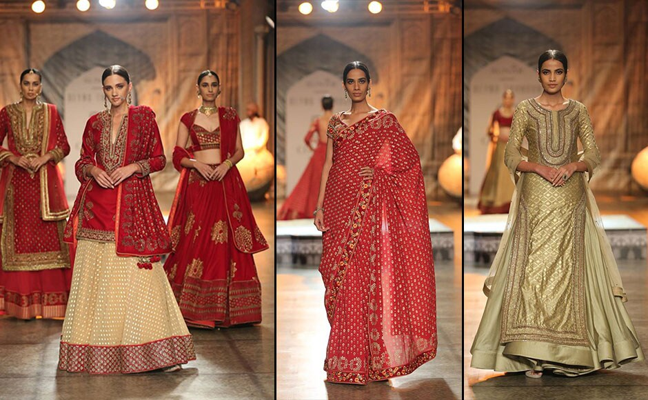 Models sashayed down the ramp showcasing exquisite lehengas, extravagant anarkalis and saris, in an array of bright and beautiful colours such as orange, red, gold and green. Facebook/ Fashion Design Council of India