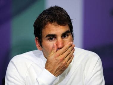 Roger Federer at the press conference after  his semifinal loss to Milos Raonic. AP