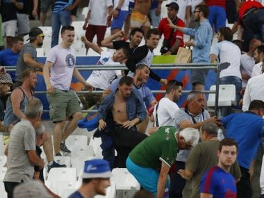 EURO 2016 - Fans clash in the stadium after the game. Reuters