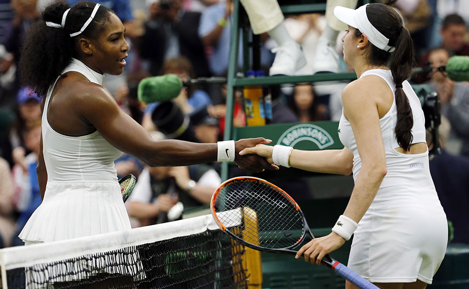 """Serena Williams shakes Christina McHale's hand after a hard fought win.""""It was a really good match. She played great and she always plays great against me,"""" Williams said after seeing off the world number 65. AP"""
