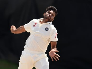 Shardul Thakur in Basseterre bowling in a practice game. AFP