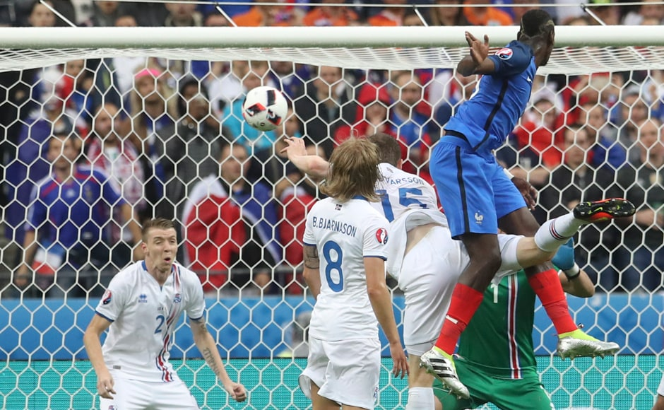 Paul Pogba's strong header was enough to score France's second goal. AP