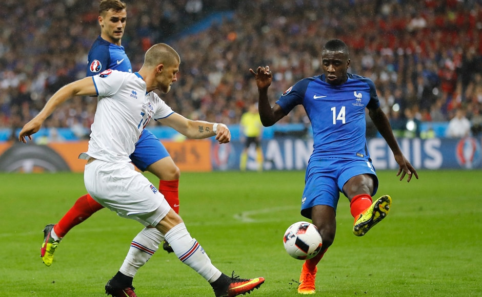 All of Iceland's efforts went in vain as France's Blaise Matuidi, blocks a shot by Johann Gudmundsson during the Euro 2016 QF.