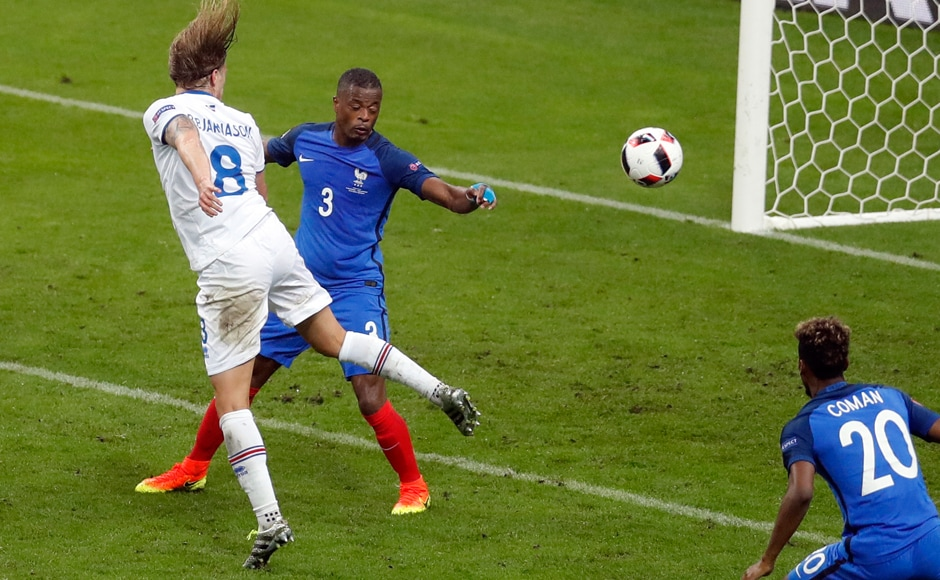 Iceland's Birkir Bjarnason showed fighting spirit to head the ball past Hugo Lloris to score his side's second goal and keep theirhopes alive, even though it was a lost cause. AP