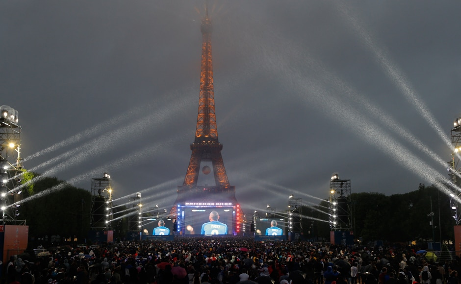 All of France is watching: The Eiffel Tower is the backdrop to a scintillating Euro capmiagn by the French at the fanzone. AP