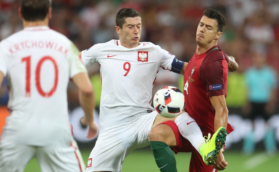 Poland's Robert Lewandowski scored his first goal of the competition, after hitting a record 13 in qualifying round. AP