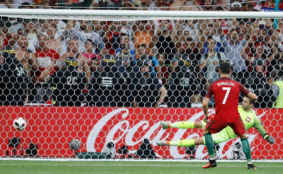 Cristiano Ronaldo scored Portugal's first penalty in penalty shootout, after the captain took the responsibility of going first despite missing one earlier in Euro 2016. AP