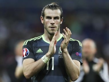 Gareth Bale acknowledges the fans at the end of  the Euro 2016 semifinal match against Portugal. AP