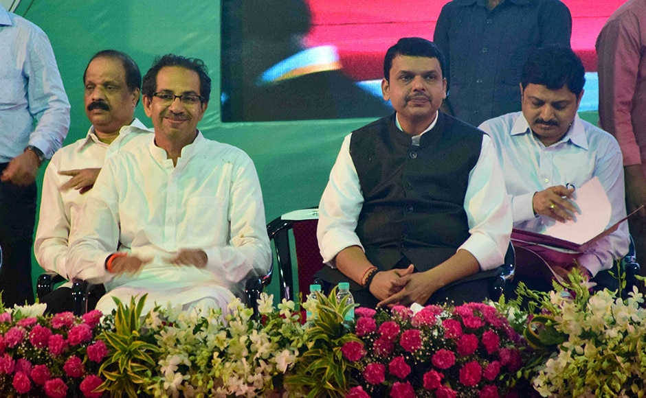 Maharashtra Chief Minister Devendra Fadnavis and Shiv Sena chief Uddhav Thackeray during a tree plantation drive at Maharashtra Nature Park, in Mumbai, on Friday. (Sanket Shinde/ SOLARIS IMAGES)