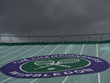 Covers raised due to rain at Court One on Day Five of the ongoing Wimbledon. Getty Images