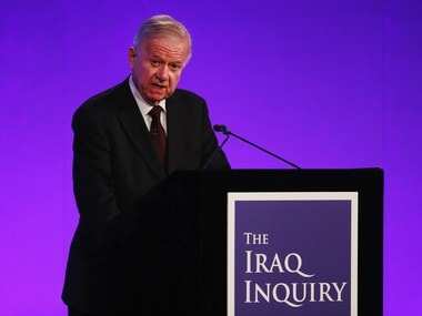 """Sir John Chilcot presents the Iraq Inquiry Report at the Queen Elizabeth II Centre in London, Wednesday, July 6, 2016. The head of Britain's Iraq War inquiry has released a damning verdict on a conflict he says was mounted on flawed intelligence, executed with """"wholly inadequate"""" planning. AP"""