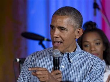 US President Barack Obama speaks during an Independence Day celebration at the White House. AP
