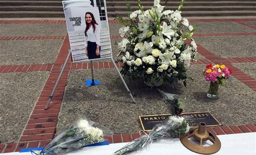 A flower memorial is seen on the steps of Sproul Plaza at University of California Berkeley on Tuesday, in Berkeley, California. AP