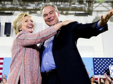 In this July 14, 2016, file photo, Democratic presidential candidate Hillary Clinton, accompanied by Sen. Tim Kaine, D-Va., speaks at a rally at Northern Virginia Community College in Annandale, Va. Clinton has chosen Kaine to be her running mate AP