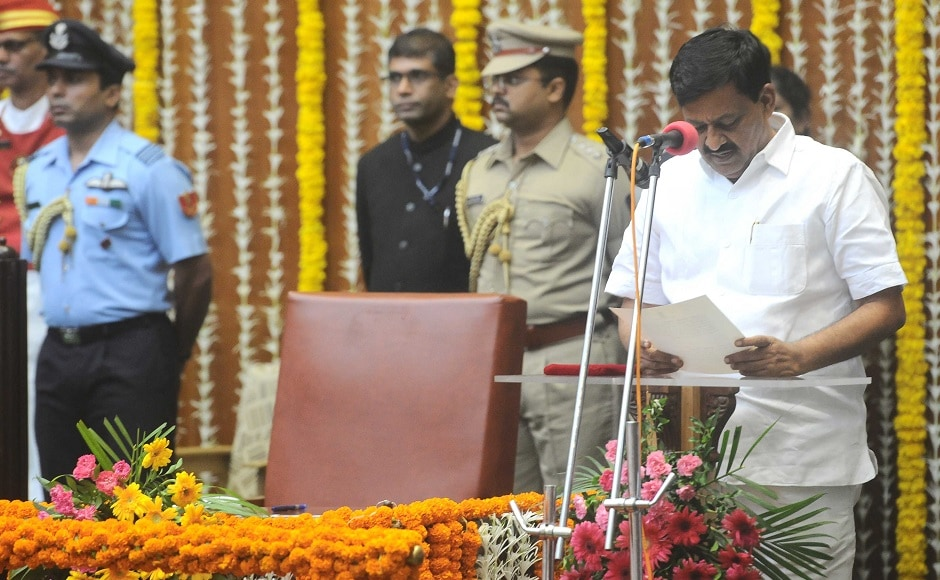 Subhash Deshmukh, BJP MLA from Solapur, takes oath as cabinet minister. He is also the chairman of Lokmangal Group, an NGO in Solapur , which conducts mass weddings for the poor every year. Sachin Gokhale/Firstpost