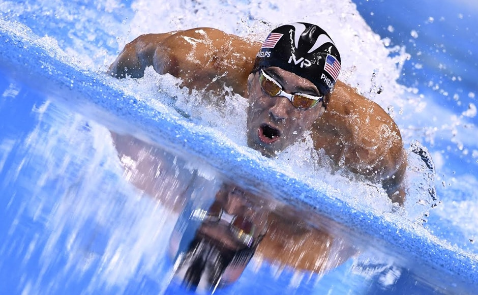 USA's Michael Phelps competes to win the Men's 200m Individual Medley Final during the swimming event where he won his 4th gold medal of Rio Olympics. AFP