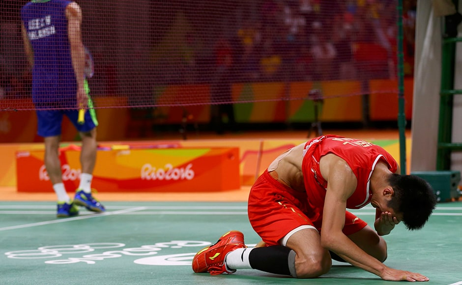 Chen Long of China reacts after winning the gold medal match against Malaysian Lee Chong Wei. He won the clash 21-18, 21-18. Reuters