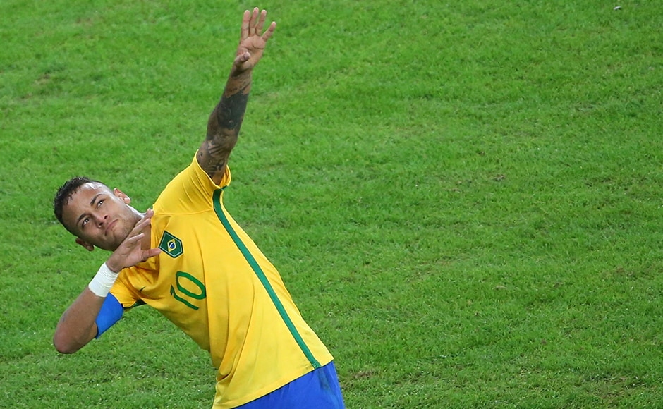 Neymar of Brazil celebrates scoring their first goal. The 5-4 shoot-out win exacted revenge for a humiliating 7-1 World Cup semi-final defeat to Germany two years ago. Reuters