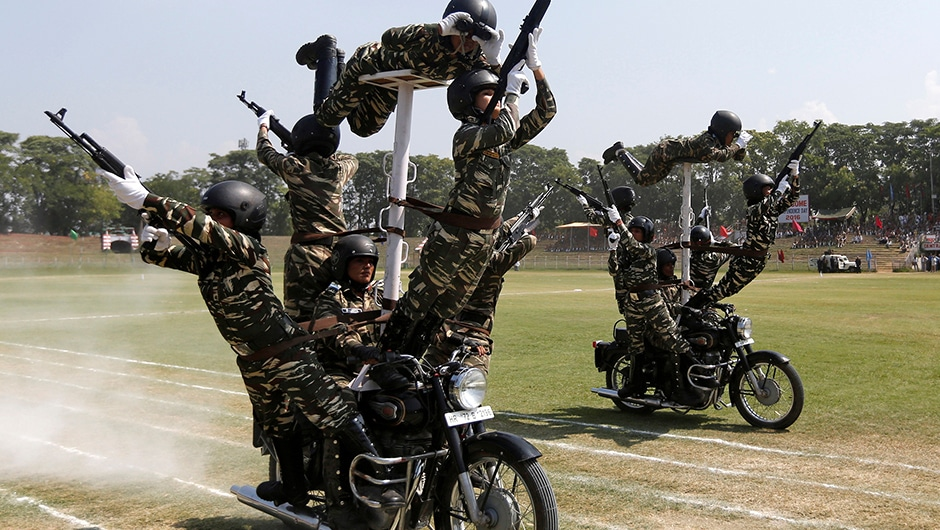 With Home Minister Rajnath Singh initiating a high level meeting over the security situation across the country and specially in Kashmir, that hasn't the policewomen from rehearsing  stunts on their motorbikes in Srinagar. Reuters