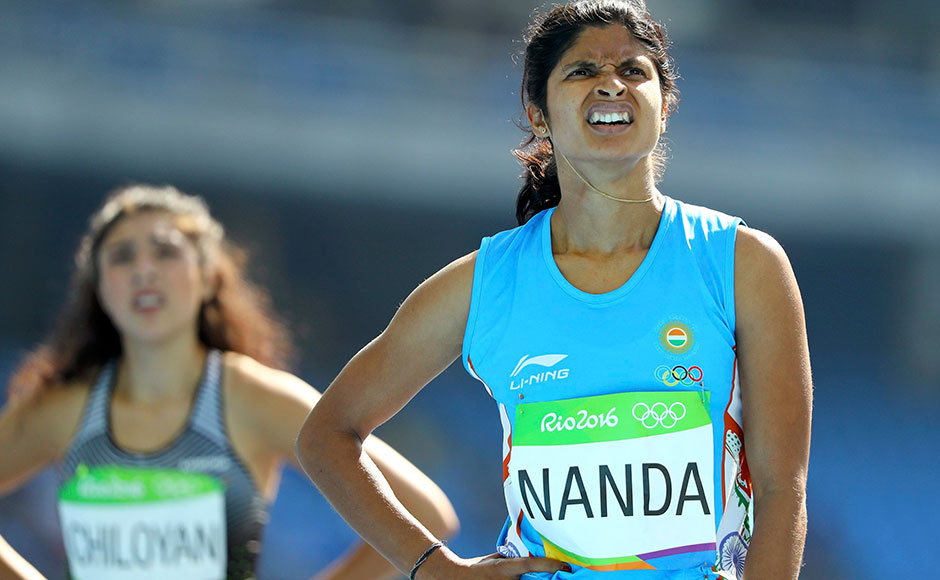2016 Rio Olympics - Athletics - Preliminary - Women's 200m Round 1 - Olympic Stadium - Rio de Janeiro, Brazil - 15/08/2016. Srabani Nanda (IND) of India reacts REUTERS