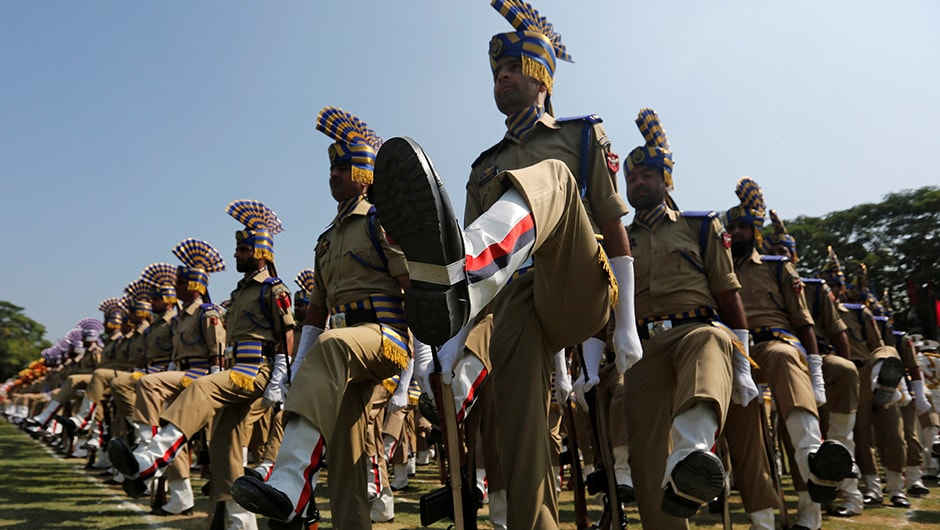 While curfew has been slammed across the Kashmir Valley, that hasn't stopped the Indian policemen from taking part in the full-dress rehearsal ahead of India's Independence Day in Srinagar. Reuters
